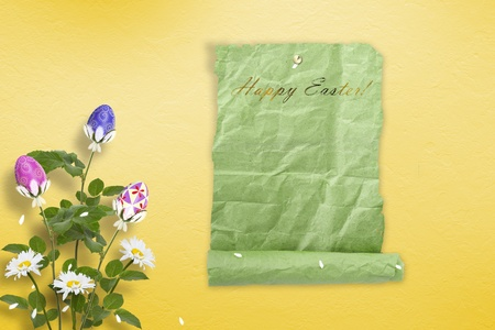 egg roll: Pastel background with multicolored eggs and flowers to celebrate Easter