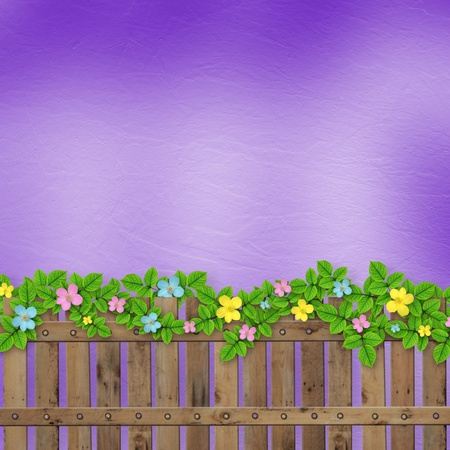 Wooden fence with a flower garland on the abstract background of a summer day Stock Photo - 12771540