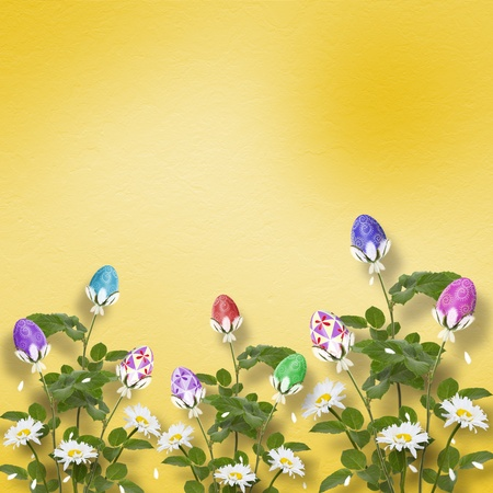 Pastel background with multicolored eggs and flowers to celebrate Easter photo