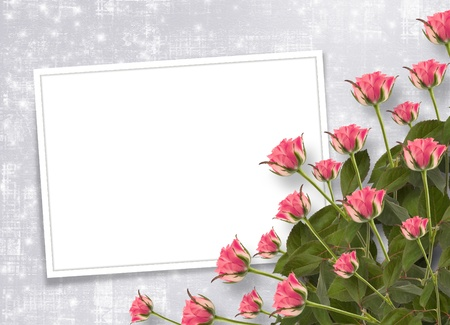 betrothal: Card for congratulation or invitation with bunch of flowers Stock Photo