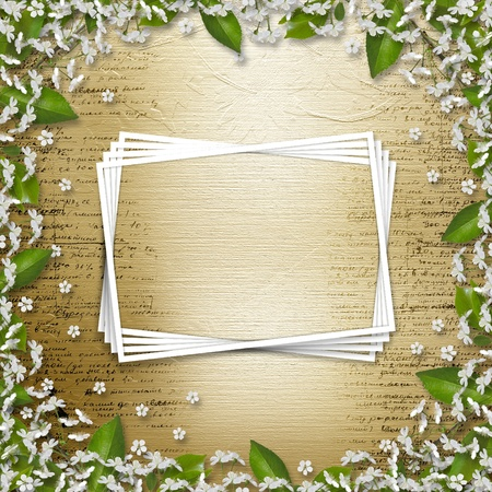 Writing abstract background with frame floral beautiful bouque Stock Photo - 13318640