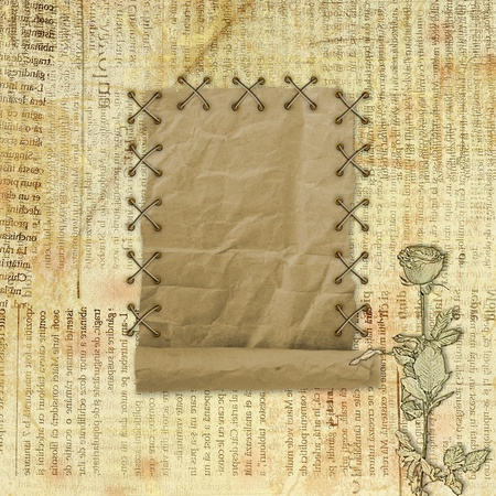 Grunge paper design in scrapbooking style on the abstract background with roses photo