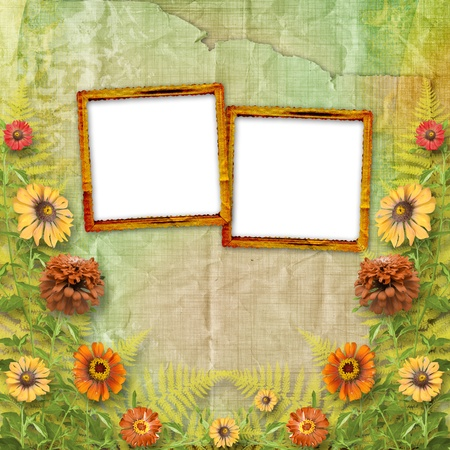 ornamentation: multicoloured card for greetings or invitations with bunch of flowers Stock Photo