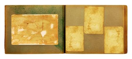 album page: Vintage photoalbum for photos on white isolated background