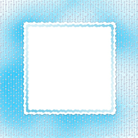 Blue card for invitation or congratulation with pearls photo
