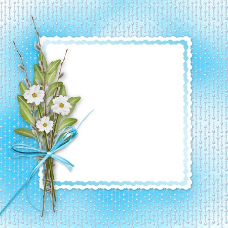 Card for invitation or congratulation with bunch of flowers and twigs  photo