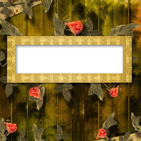 Grunge background for congratulation with beautiful rose Stock Photo - 13998621