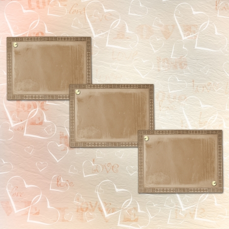 Abstract background with old cards and hearts  photo