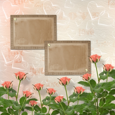 Card for congratulation or invitation with frames and pink roses Stock Photo