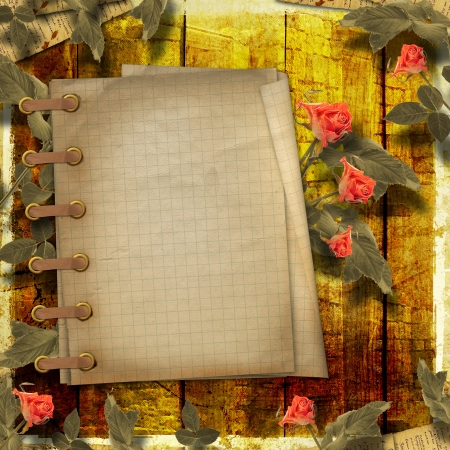 Grunge background for congratulation with notebook and beautiful rose photo