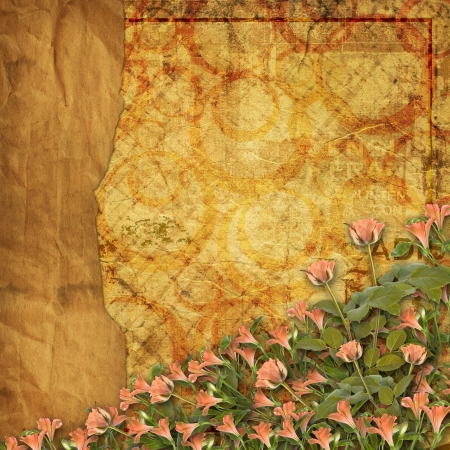 alienated: Alienated used paper background  for announcement with rose Stock Photo