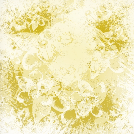 slop: Light golden watercolor brush strokes with floral ornamental background