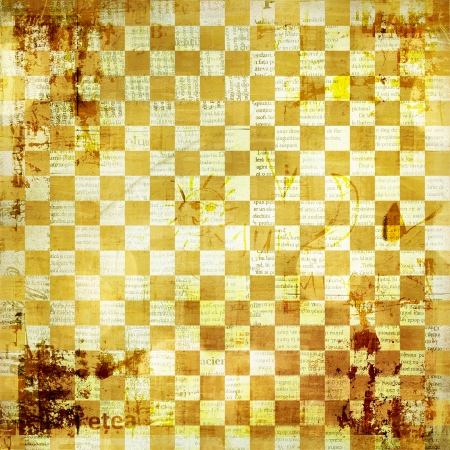 Vintage abstract background with chequered chess ornament photo