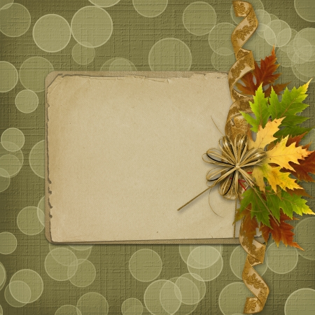 Autumn background with foliage and grunge papers design in scrapbooking style Stock Photo - 15732633
