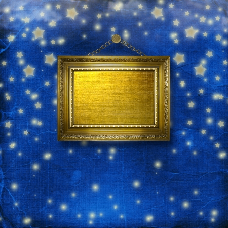 scrap metal: Wooden frames for photo on the nightly glowing background