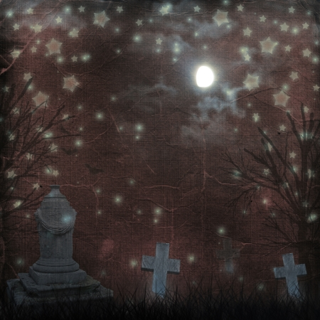 churchyard: Spooky Halloween graveyard with dark clouds and ominous moon