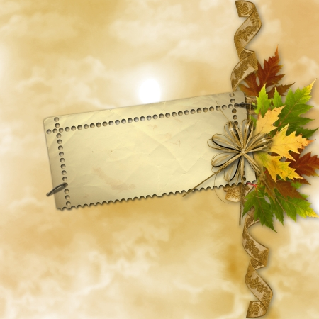 Autumn background with foliage and grunge papers design in scrapbooking style photo