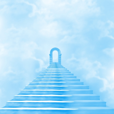 leading: The stairway to heaven leading to God Stock Photo