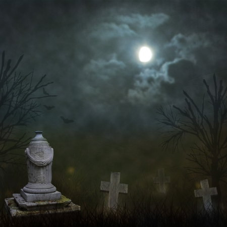 Spooky Halloween graveyard with dark clouds and ominous moon photo