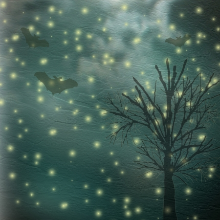 Moonlight lanterns: Postcard halloween holiday with trees and bats on the nightly background