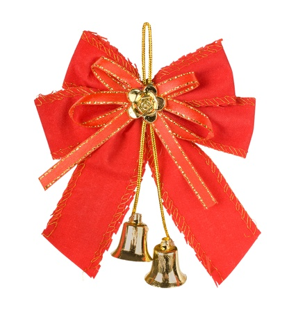Christmas bells with red bow isolated on white background photo