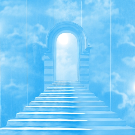 The stairway to heaven leading to God Stock Photo