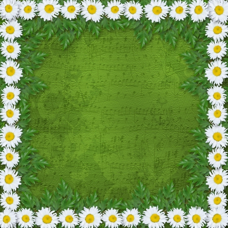Abstract musical background with garland of snow-white daisies photo