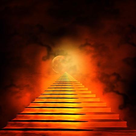 infierno: Escalera que conduce al cielo o al infierno. Luz al final del t�nel Foto de archivo