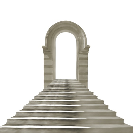 stairway: Old stone arch with concrete stairs isolated on white background