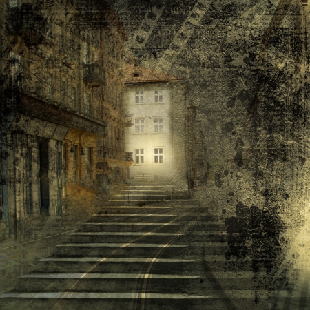 Quaint town with old stone stairs on the ancient paper background Stock Photo - 16409868