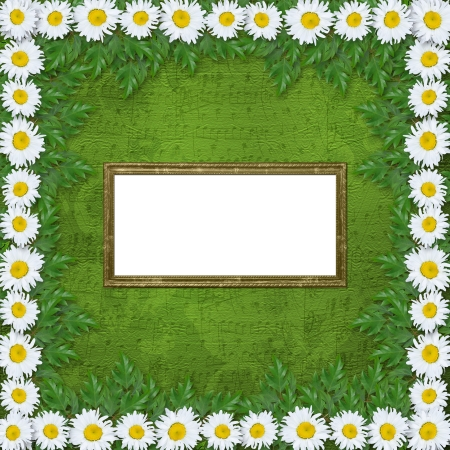 oxeye: Abstract musical background with garland of snow-white daisies Stock Photo
