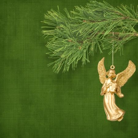 branche pin: Ange de No�l suspendu � la branche de pin.