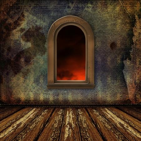 grunge interior: Old room, grunge interior con ventanas de estilo barroco