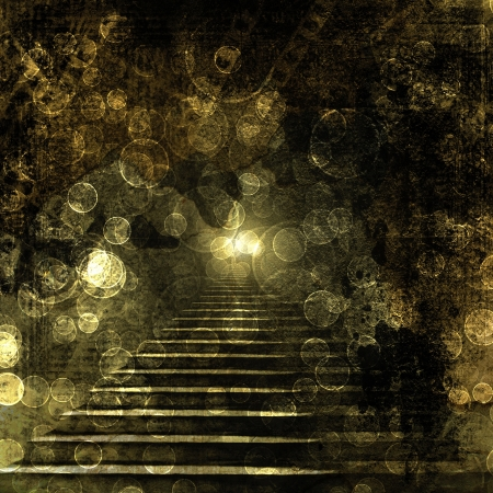 Stone stairs in the old paper background with blur boke Stock Photo - 16409926
