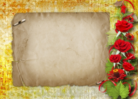wedlock: Card for congratulation or invitation with red roses  Stock Photo