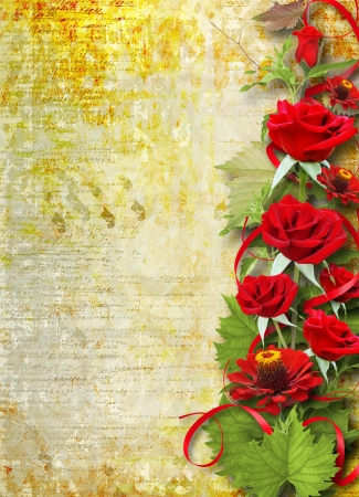 betrothal: Card for congratulation or invitation with red roses  Stock Photo