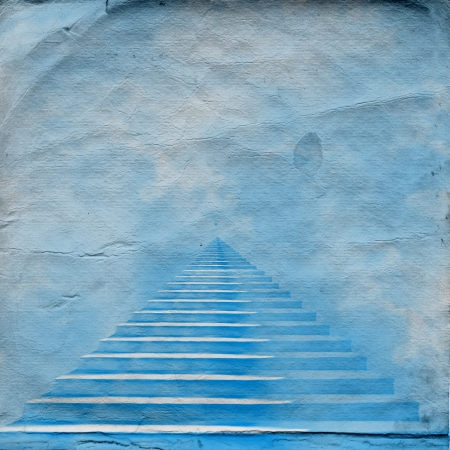 jesus clouds: The stairway to heaven leading to God on the old paper