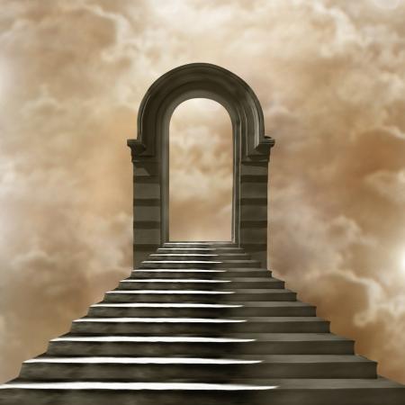 to hell: Escalera que conduce al cielo o al infierno. Luz al final del t�nel Foto de archivo