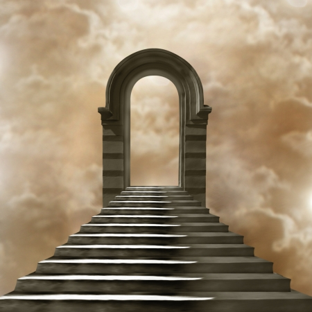 stairway to heaven: Staircase leading to heaven or hell. Light at the End of the Tunnel