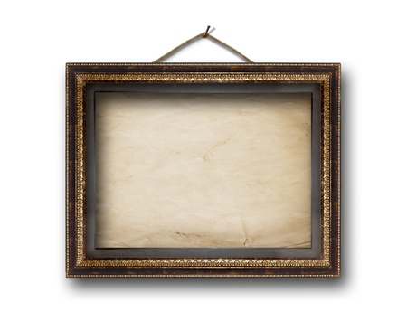 suspend: Picture gold frame on the white isolated background