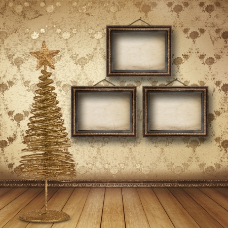 Christmas golden spruce in the old room, decorated with wallpaper photo
