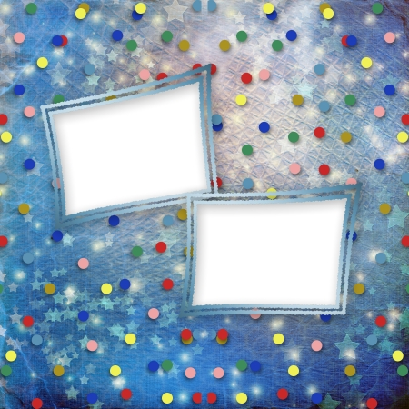 Blue cheerful background with multicolored confetti and stars photo