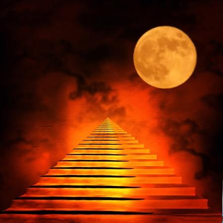 infierno: Escalera que conduce a la luz del cielo o del infierno al final del t�nel