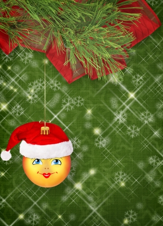 Christmas ball in the hat of Santa Claus with pine branches on the abstract background Stock Photo - 16484430