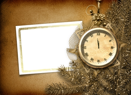 watch new year: Antique clock face with lace and firtree on the abstract background