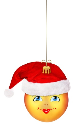Christmas ball in the hat of Santa Claus  on the white isolated background photo