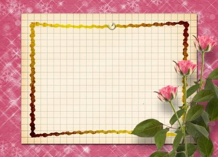 wedlock: Card for congratulation or invitation with bunch of pink roses