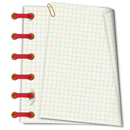 Grunge notebook. A writing-book in a section with golden clip and red ribbon Stock Photo - 16536197