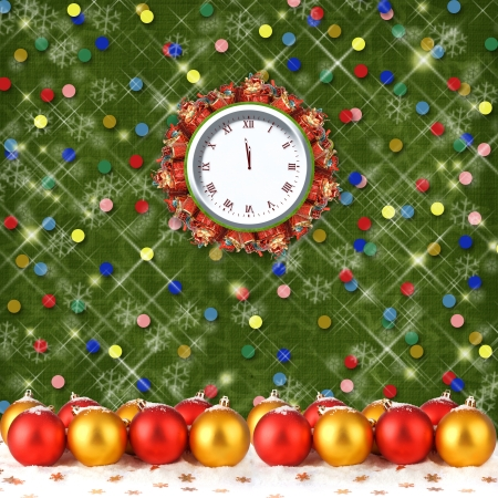 Christmas balls and gifts to the clock on the abstract background with confetti and stars photo