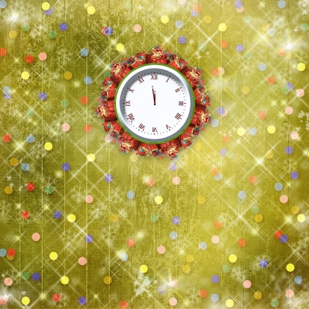 Christmas gifts to the clock on the abstract background with confetti and stars Stock Photo - 16569156